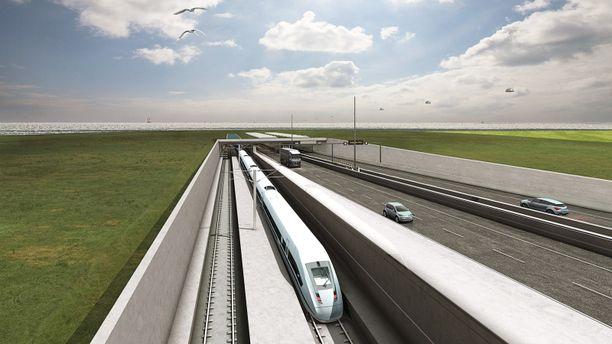 Tunneliin tulee nelikaistainen moottoritie ja kaksi junaraidetta.