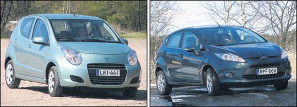 Suzuki Alto (vasemmalla) täyttää jo ekonormit. Ford Fiesta Econetic saa uuden puhtaamman dieselin ensi keväänä ja mukautuu silloin Stadin lakiin.
