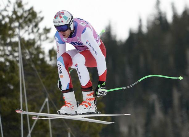 Sveitsin Marc Gisin kaatui pahasti lauantaina syöksylaskun maailmancupissa. Arkistokuva.