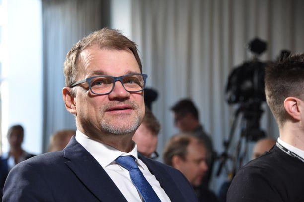 Pääministeri Juha Sipilä (kesk) Politiikan toimittajien tentissä Helsingissä tiistaina.