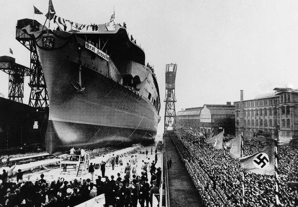 Graf Zeppelin laskettiin vesille 1938. Siitä olisi tullut vaarallinen muun muassa Atlantilla kulkeville liittoutuneiden saattueille.