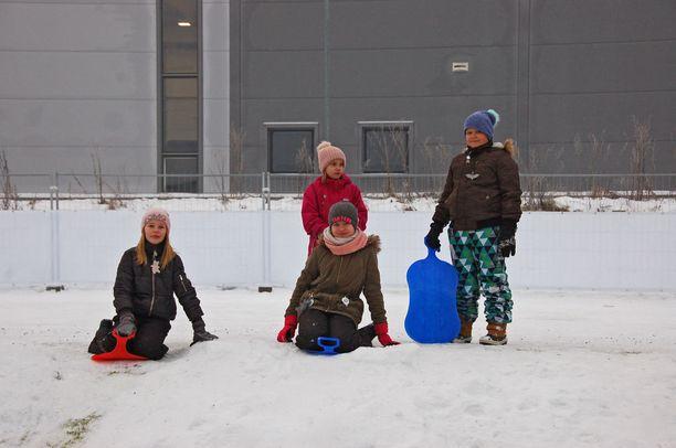 Venla Sillanpää, Elma Tapala, Silja Bäckmann ja Niklas Kukkonen laskivat mäkeä pienellä pihalla.