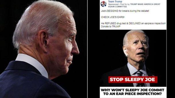 Trumpin kampanjatiimin levittämässä kuvassa Joe Bidenilla on korvassaan Applen langaton kuuloke. Väittelyssä hän ei sellaista käyttänyt.