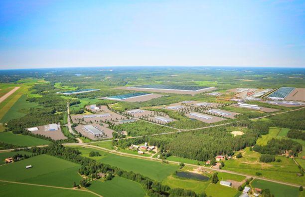 Havainnekuva GigaVaasa -alueesta, jonne myös uusi akkumateriaalitehdas sijoittuu.