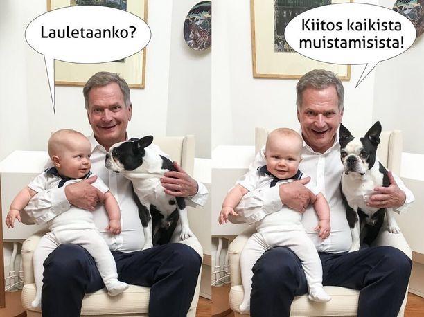 Presidentti Sauli Niinistö täytti perjantaina 70 vuotta ja julkaisi juhlan kunniaksi kuvan Aaro-pojastaan ja Lennu-koirastaan. Jenni-vaimo ei mahtunut samaan kuvaan.