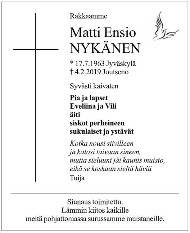 Kuolinilmoitus julkaistiin Keskisuomalaisessa.