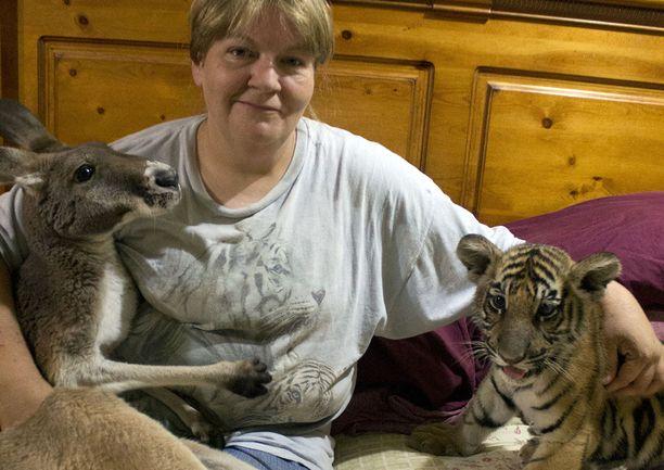 Tämä amerikkalaisrouva pitää eksoottisista lemmikeistä. Hänellä on siperiantiikeri ja kenguru.
