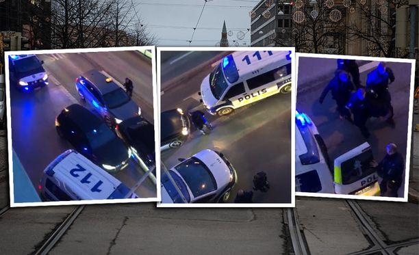 Poliisioperaatio tallentui silminnäkijän kameraan.