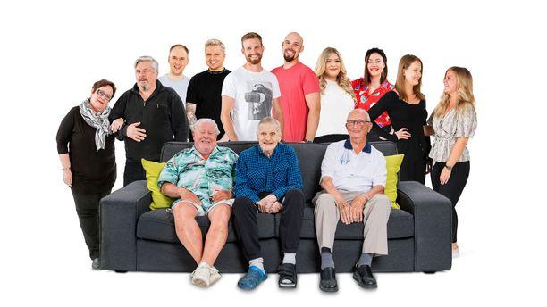 Sohvaperunat-ohjelman kymmenennelle kaudelle haetaan nyt osallistujia. Kuvassa edellisen kauden tähdet.