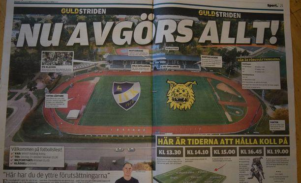 Ålandstidningen kertoi päivän huippuottelusta.