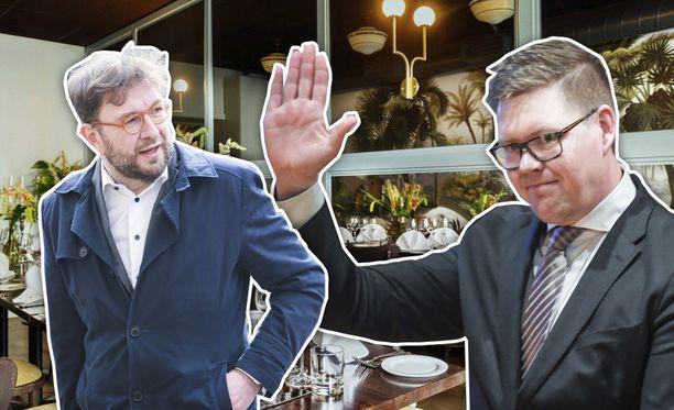 Liikenne- ja viestintäministeri Timo Harakka (sd) tarjosi lounaan puoluetoverilleen Antti Lindtmanille.