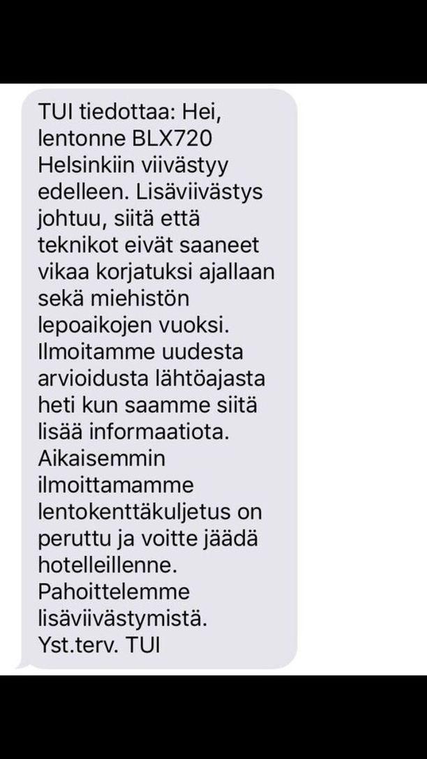 Tällaisen viestin Samokselta lähtevät matkustajat saivat keskiviikkona.