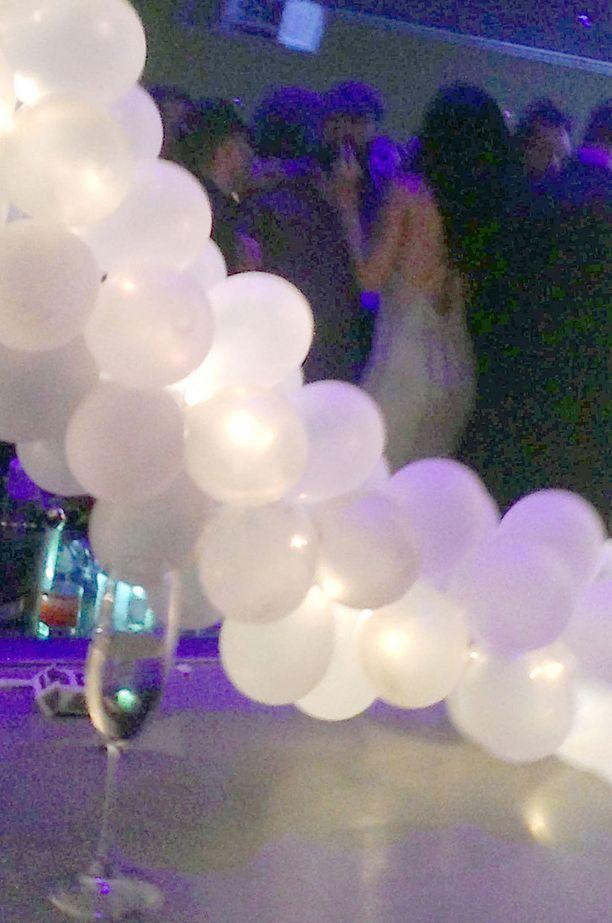 Rihanna ja Leonardo nähdään tässä suttuisessa kuvassa jutustelemassa tanssilattialla.