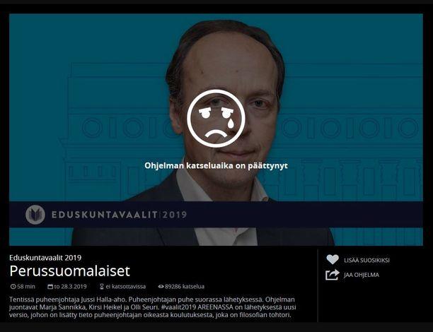 Halla-ahon vaalitentti todella oli kadonnut Ylen Areenasta. Sivusto ilmoitti, että katseluaika on päättynyt.