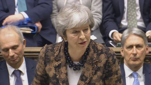 Britannina pääministeri Theresa May piti maanantaina puheen parlamentille.