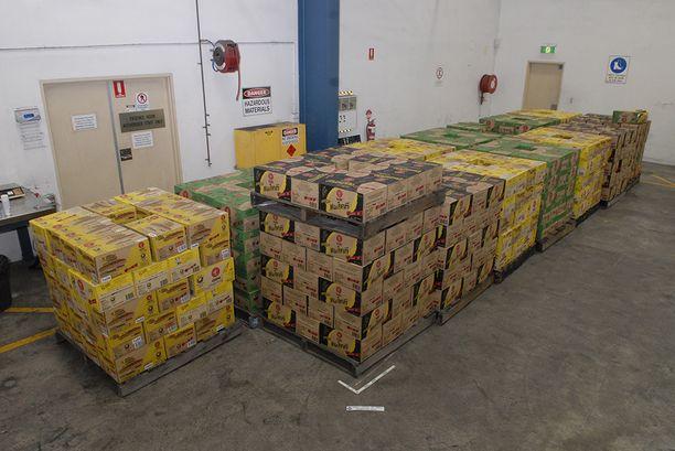Efedriini oli pakattu näihin laatikoihin.
