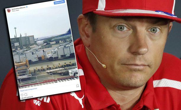 Kimi Räikkönen huomioi lentokenttäkaluston.