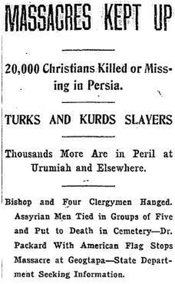 Washington Times -lehden artikkeli vuodelta 1915 assyrialaisten kansanmurhasta.
