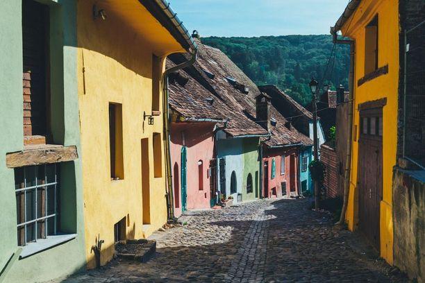 Sighisoaran värikkäitä taloja.