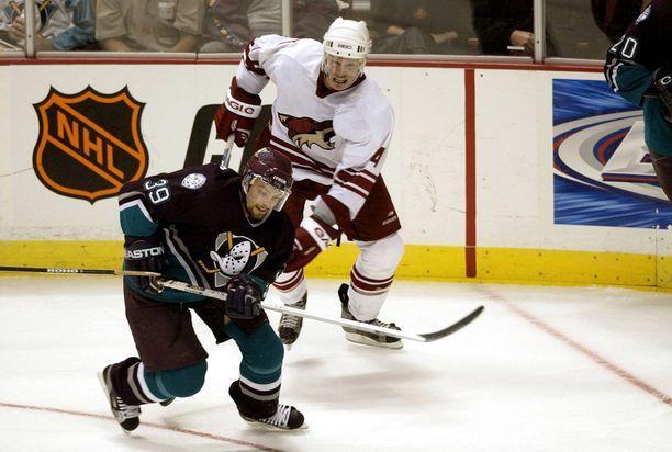 Kovista otteistaan tunnettu puolustaja Ossi Väänänen (4) aloitti NHL-uransa Phoenixissä.