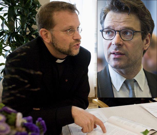 """Piispa Jari Jolkkonen ja vihreiden kansanedustaja Ville Niinistö ovat eri linjoilla """"jeesustelu""""-termin käytöstä."""