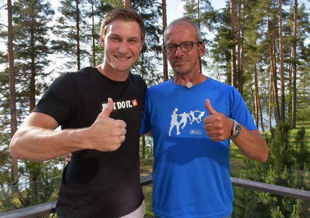 Thomas Röhler (vas.) ja valmentaja Harro Schwuchow ovat tehneet yheistyötä viisi vuotta.
