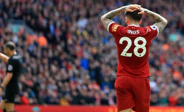 Liverpoolin Danny Ings joutui pettymään, kun hänen maalinsa hylättiin paitsion vuoksi.