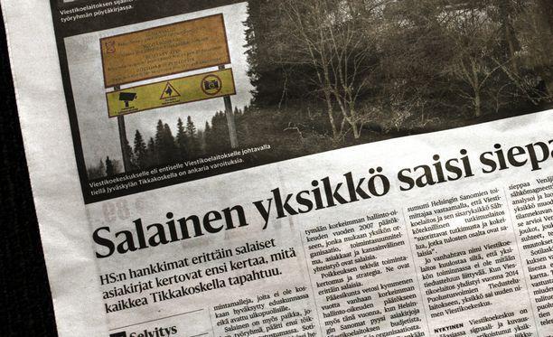 Helsingin Sanomat oli julkaissut erittäin salaisiksi määriteltyjä asiakirjoja laajan juttunsa yhteydessä.