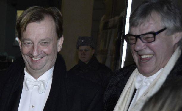 Hjallis Harkimo ja Aake Kalliala saapuivat Linnaan yhdessä rennoissa tunnelmissa.