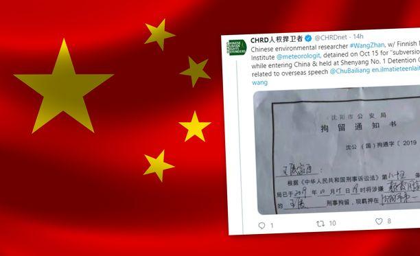 Ilmatieteenlaitokselle työskennellyt tutkijatohtori on pidätetty Kiinassa.
