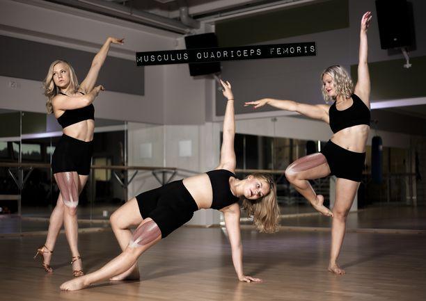 Elli Joukaisen, Emmi Mustajoen ja  Ida Gustafssonin musculus quadriceps femoris.