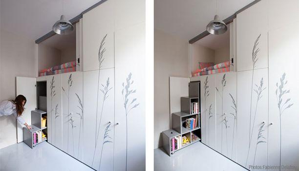 Tässä asunnossa jokainen sentti on käytetty hyödyksi. Kirjahylly toimii samalla myös portaina, joita pitkin voi kivuta petiin ylähyllylle.