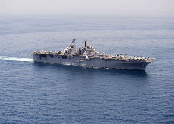 Yhdysvaltojen laivaston kuva USS Boxer -aluksesta, joka saapui Hormuzinsalmelle muutamia päiviä sitten.
