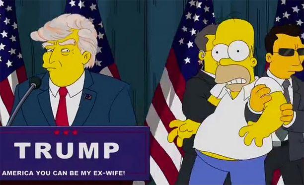 Presidentti Trump esiintyi Simpsonit-tv-sarjassa jo vuonna 2000. Kuva on viime vuonna esitetystä jaksosta.