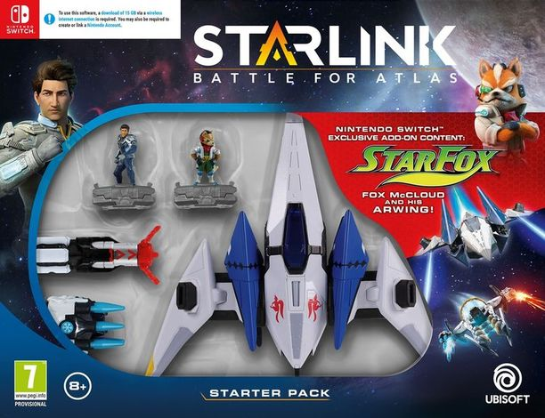 Aloituspakkauksesta löytyy pelin lisäksi ohjainkiinnike, avaruusalus, kaksi hahmoa ja kaksi asetta.