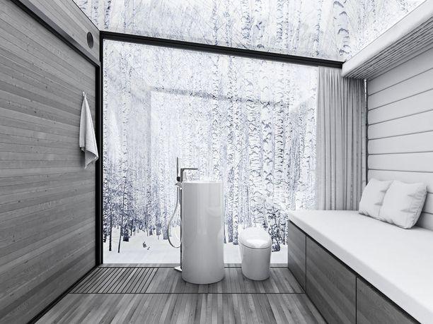 Toisessa mallissa on sohva/sänky säilytystilalla, jääkaappi, pesuallas, suihku, wc ja induktiokeittotaso.