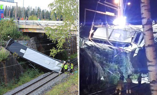 Bussi putosi 7-10 metrin matkan alas sillalta junaraiteelle. Bussin toinen pää jäi kiskoille, toinen pää nojasi kallioon.