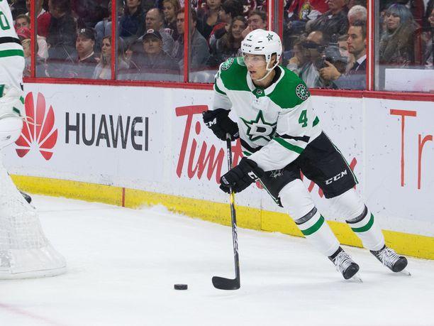 Dallas Starsin Miro Heiskanen teki kauden toisen maalinsa Montreal Canadiensia vastaan.