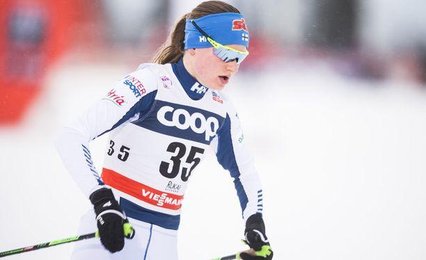 Johanna Matintalo suuntaa helmikuussa viiden muun suomalaisen naishiihtäjän kanssa Pyeongchangin olympiamaisemiin. Arkistokuva.