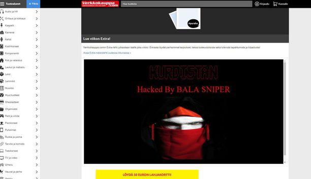 Hakkeri lisäsi tällaisen bannerin Verkkokaupan sivulle.