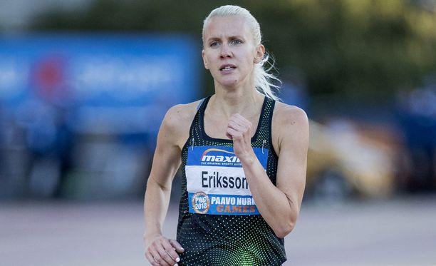 Sandra Eriksson oli vireessä pyhänä Tukholmassa. Kuva tiistailta Turun Paavo Nurmi Gamesista.