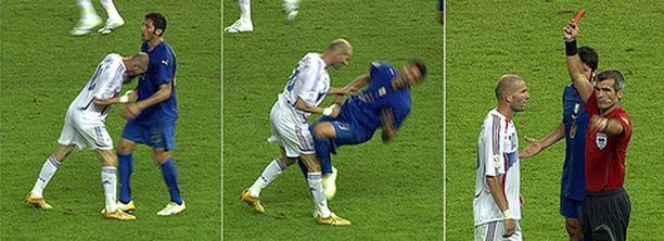 Zinedine Zidanen kuuluisa pusku Marco Materazzin rintaan.