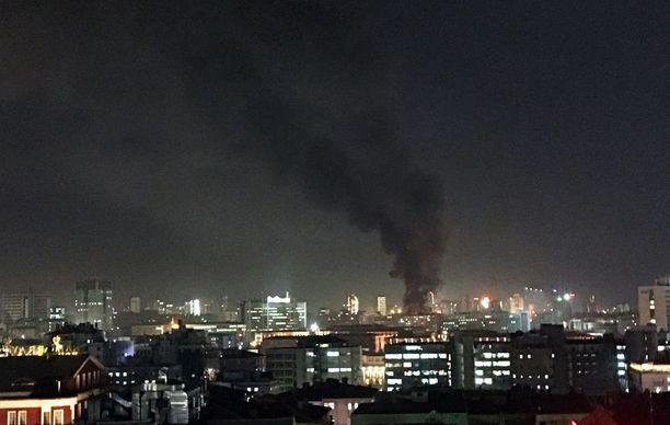 Pommi-iskun tapahtumapaikalta nousi sankka savu Turkin pääkaupungin ylle.