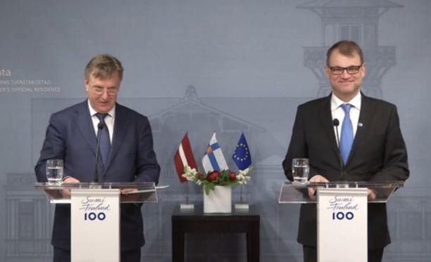 Pääministeri Juha Sipilä (kesk) tapasi tänään Latvian pääministerin Māris Kučinskisin.