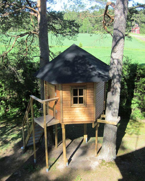 Somerolle rakennettiin puumaja poikien tukikohdaksi. Vaatimuksina olivat lukittava ulko-ovi ja lattialuukku köysitikkailla.