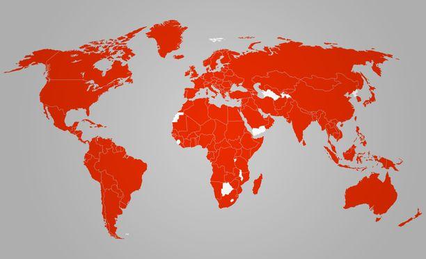 Näissä maissa on todettu koronavirustartuntoja. Kartta päivitetty 1.4.2020.