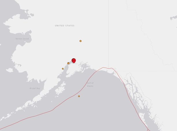 Punainen piste kartalla näyttää maanjäristyksen keskuksen.