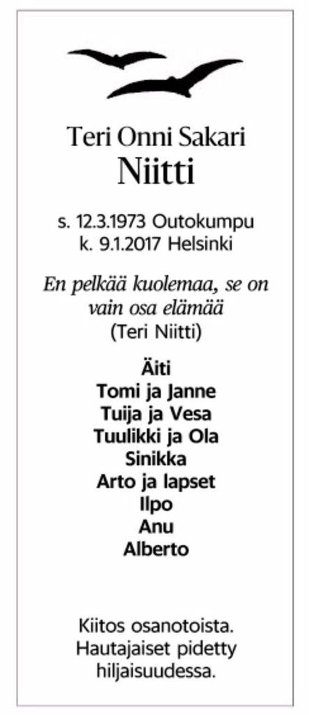 Teri Niitin kuolinilmoitus julkaistiin sunnuntain Helsingin Sanomissa.