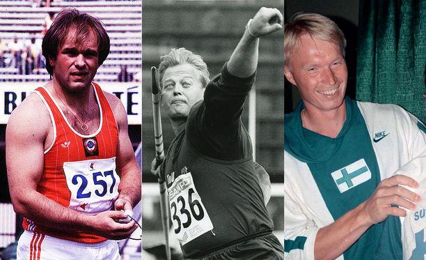 Juri Sedyhillä (vas.) oli tiukat kriteerit olympilaisten korttiringille, johon Seppo Räty (kesk.) ja Tapio Korjus pääsivät.