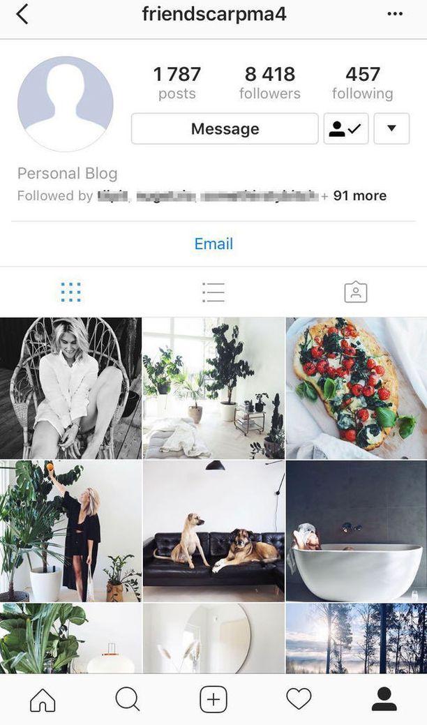 Tältä näytti Tiiu Purasen Instagram-tili pian kaappauksen jälkeen. Silloin kuvat olivat vielä näkyvissä.